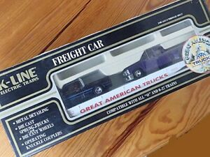 ✅K-LINE FLATCAR & 2 DIE CAST  PICKUP TRUCKS NEW!