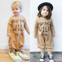 Baby Boys Girls Kids Cotton Clothes Long Sleeve Romper Bodysuit Jumpsuit Outfits