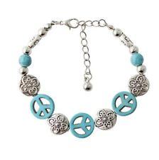 Womens Bracelet Peace Symbol Turquoise Drop Dangly Green Peace Boho Jewellery