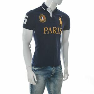 Ralph Lauren Polo Paris Men's Custom Slim Fit Patch T-Shirt Short Sleeve S