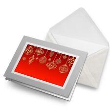 Tarjeta De Saludos (Gris) - Navidad Bolas Rojo Vintage #15629