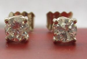 Brand New 3/4ct Diamond 9ct White Gold Stud Earrings £600 Freepost