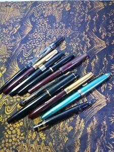 10 Vintage Fountain Pen Lot - SHAEFFER, ESTERBROOK, STRATFORD, 14K & MORE!