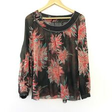 Elie Tahari Long Sleeve Boat Neck Sheer Floral Silk Blouse Shirt Top Black