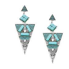 Boho Chic Handarbeit Lange Ohrringe Natursteine Türkis Kristall Klar 9,3 cm L
