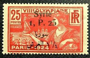 SYRIA Sc#167 1924 1.25P/25c DARK ROSE & ROSE, OLYMPICS MLH OG VF CAT $75 (17-72)