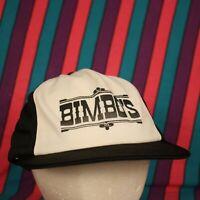 Vintage Bimbos Trucker Hat Cap Mesh Snapback Hipster Retro Black White USA MADE