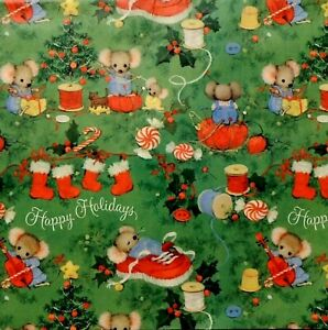 """VTG Hallmark Mice Mouse Family Christmas Gift Wrapping Paper 20""""x30"""""""