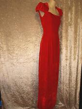 Leaver's Prom Formal Gown Long Red Velvet Princess Dress - Peter Pan Collar