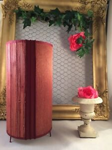 Pretty Lamp Cylinder Burgundy Paper To Decoration Effect Woven And Straw