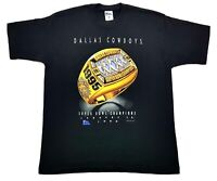 Vintage Dallas Cowboys Superbowl Ring 95 Tee Black Size XL Single Stitch T Shirt