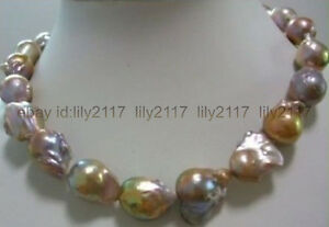 AAA+ huge multi-color 15-24mm natural south sea baroque pearl necklace 18 Inches