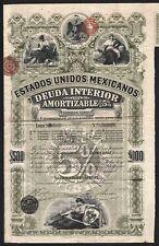 1895 Mexico: Estados Unidos Mexicanos, Deuda Interior $500/£100 - Pink Lady