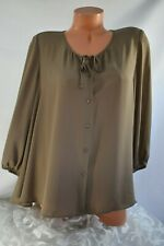 Style & Co. (L) Blouse Buttons Smock Tie Front Silk Like Beaver Brown Tunic Top