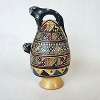 Vintage Cusco PERUVIAN Inca Jaguar Hand Painted FOLK ART Pottery Ceremonial