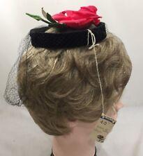 Vintage 1950s NWT Ladies Womens Fascinator Hat Headpiece Black Velvet Rose 3191