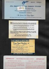 PAN AMERICAN WORLD AIRWAYS 1956 TICKET MANILA-SFO SEAT NUMBER HNL LOUNGE CARD