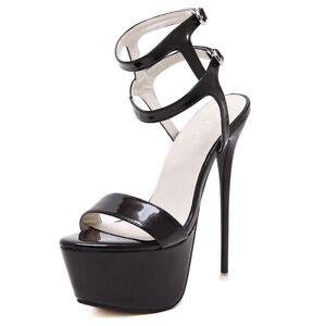 Damenschuhe Schnür Plateau Sexy Pumps Sandaletten Riemchen Sandalen High Heels