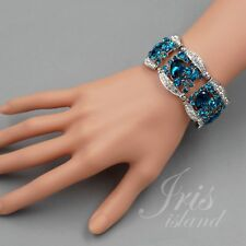 Rhodium Plated Aqua Blue Crystal Wedding Bangle Cuff Stretch Bracelet 3732 Party