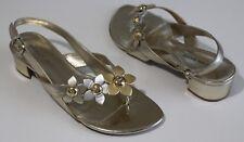 Etienne Aigner Geneva 7 M Gold Leather Thong Logo Flower Sandals UNWORN Rubber