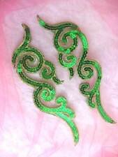 """GB350 Sequin Appliques Green Gold Metallic Scroll Mirror Pair Iron On Patch 7"""""""