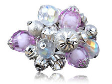 Silver Alloy Purple Beads & Baubles Cluster Rhines Trendy Fashion Ring Xmas Gift