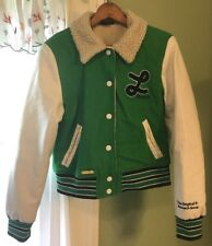 RARE LUXIRIE Women's Letterman Coat Green Wool White Leather Sleeves Size XL
