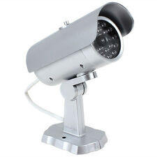 Outdoor Silver Dummy Fake Red LED Light Flashing Security Camera CCTV Cameras uk
