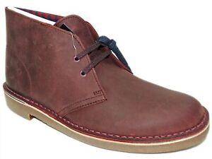 Clarks Men's Bushacre 2 Chukka Boots Aubergine Leather Size 7 M