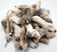 Lot of 25 Natural Color Real Authentic Lucky RABBITS FEET Foot Key Chains New