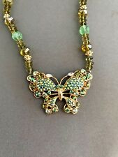 Kirks Folly Green Crystal Butterfly Pendant Necklace