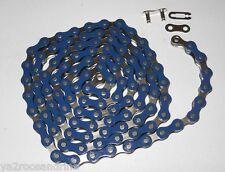 Chaine velo mono vitesse  single speed bleu 112mailons
