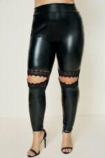 Plus Size Black Shiny Faux Leather Lace Cut Out Knee Leggings High Waist 3X 3XL