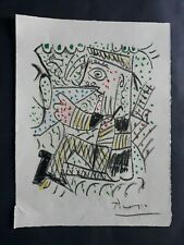 Pablo Picasso beautiful vintage rare art pastel drawing hand signed No print!