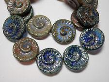 10 - 17mm Blue / Purple Mix Picasso Coin Swirl Spiral Czech Glass Beads