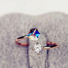 Crystal Women 18K Rose Gold Plated Adjustable Rings Engagement Twin Zircon Stone