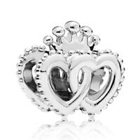 925 Sterling Silver United Regal Hearts Charms Fit European Charm Bracelet