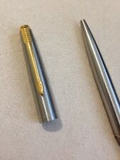 VINTAGE PARKER 45 STAINLESS STEEL FLIGHTER GOLD TRIM BALLPOINT PEN-USA-BLUE INK.