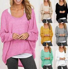 Gris Mujeres Mangas Largas Suelta Blusa Camisa Top Casual de Verano Pullover Suéter