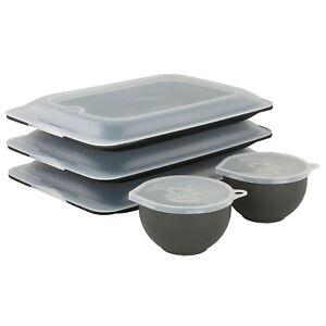 Aufschnittboxen Set Negro Botes Herméticos Tarro Apilable Refrigerador