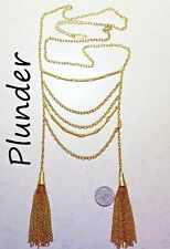 Chain Necklace, 2 Tassels, Goldtone Unusual Long Signed Plunder Ladder Drape