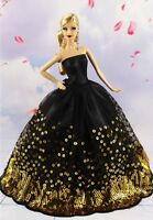 Black Wedding Party Dress Gold Sequins Clothes Grows for 11inch Doll Gift
