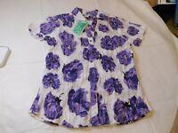 Japna womens short sleeve Blouse Top Shirt S small white purple flowers NWT