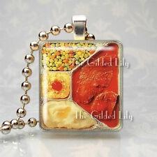 RETRO MEATLOAF TV DINNER KITSCHY Scrabble Tile Altered Art Pendant Jewelry Charm