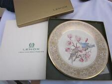 Lenox Mountain Bluebirds Plate by Edward Boehm 1972 Mib 24K gold trim