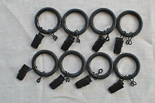 "Urbanest 1"" Metal curtain rings w/ clips, eyelets & nylon inserts set of 8"