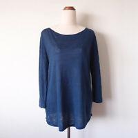SABA Navy Blue 3/4 Length Sleeve Slightly Sheer Linen Top T-Shirt Size XS 8-10