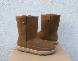 UGG CLASSIC SHORT WEATHER WP LEATHER/ WOOL WINTER BOOTS, WOMEN US 10/ EUR 41 NEW