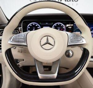 Mercedes-Benz OEM W222 C217 S-Class 2015*+ Piano Black & Leather Steering Wheel