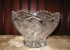 Vintage Lead Crystal Frosted Etched Bowl Fruit Nuts Candy Footed Crystal Bowl